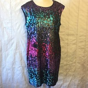 Skies Are Blue Sequin Ombré Party Dress